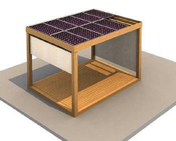 Pergolato fotovoltaico modello RIO, dal catalogo dell'Azienda Green Engineering.