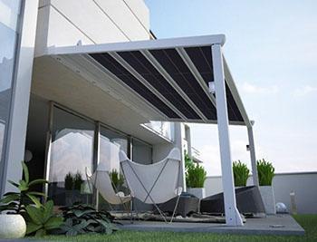 Pergolato fotovoltaico modello Sintesi Sun, dal catalogo dell'Azienda Frama.