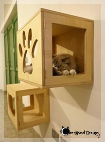 Cubi modulari da parete per gatti, dal catalogo della Falegnameria di Giovanni Ceria.