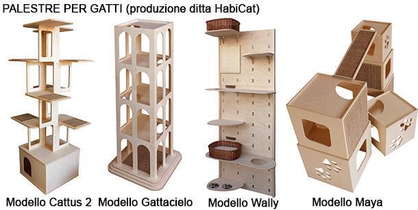 Vari modelli di palestre per gatti, dal catalogo dell'Azienda HabiCat.