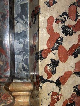 Varie texture di finto marmo con macchie e venature.