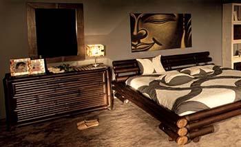 Camera da letto in bambù, dal catalogo dell'Azienda Bambù Design.