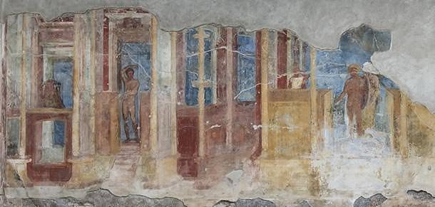 Esempio di parete con decorazioni di secondo stile.
