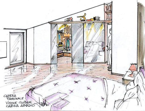 Cabina armadio in mansarda - Parete testata letto dipinta ...