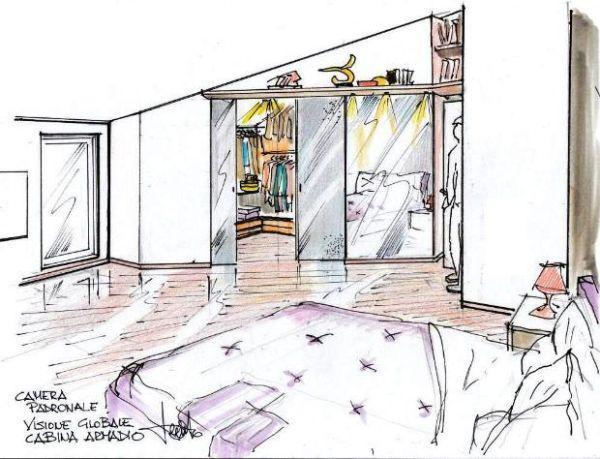 Disegno di una soluzione progettuale per cabina armadio in mansarda