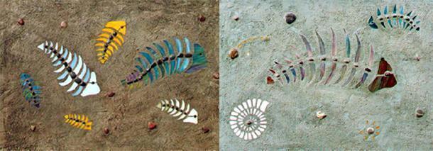 Mosaici ornamentali ispirati al mondo dei fossili, dal catalogo dello Studio Adam Art.