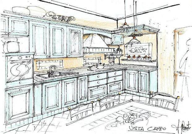 Isola Muratura disegno cucina ~ Sogno Immagine Spaziale