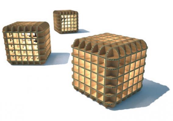 Lampada in cartone prod-cube di Tullini