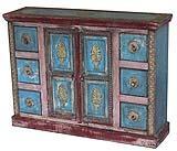 Mobile indiano in legno laccato bicolore e applicazioni metalliche, di Etnic Art