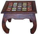 Tavolino indiano con inserti in ceramica decorata, di Etnic Art