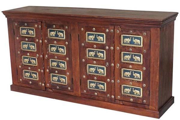 Mobile indiano in legno eapplicazioni in metallo di Etnic Art