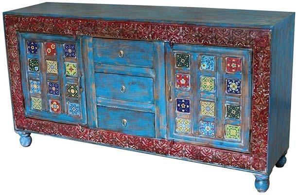 Servante con legno recuperato, metallo e ceramica, di Etnic Art