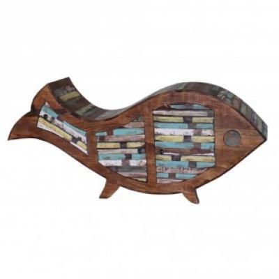 Porta riviste da appoggio forma pesce in legno etnico Etnicart