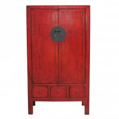 Armadio in legno etnico rosso