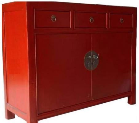 Credenza cinese rossa con cassettini