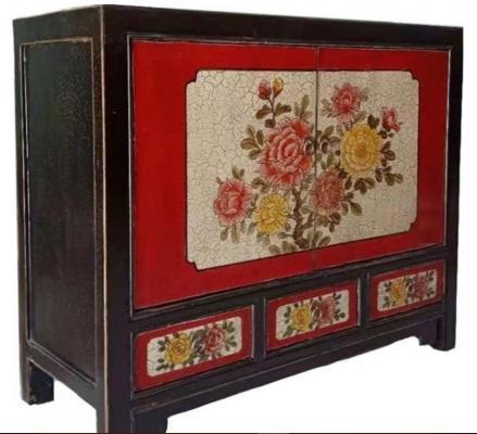 Credenza mongola con dipinti rossa con 3 cassetti di Etnicart