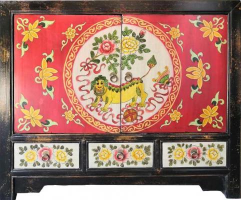 Mobile credenza mongola dipinta con due ante e tre cassetti Etnicart