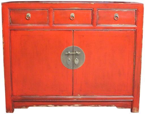 Credenza orientale con tre cassetti e due ante rossa Etnicart