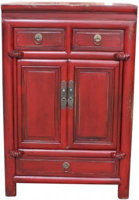 Mobiletto orientale rosso con 2 cassettini - 1 cassetto e 2 ante di Etnicart