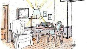 Progetto per angolo studio in salotto