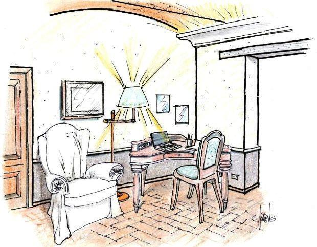 Angolo studio in salotto for Disegno del piano di soggiorno