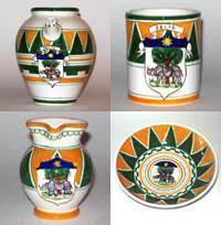 Oggetti decorati con stemma e colori araldici della Contrada della Selva.