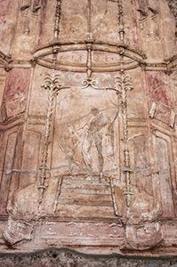 Stucco romano con motivi decorativi simili agli affreschi in IV stile pompeiano.