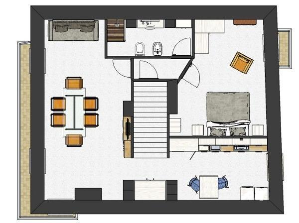 Monolocale intorno ad una scala: progetto degli interni