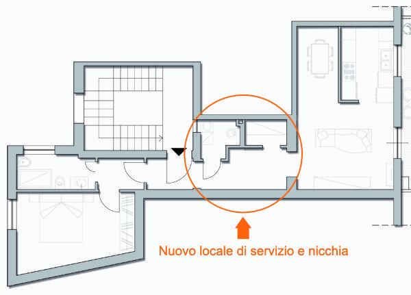 Recuperare spazio per creare un locale di servizio - Bagno rettangolare progetto ...