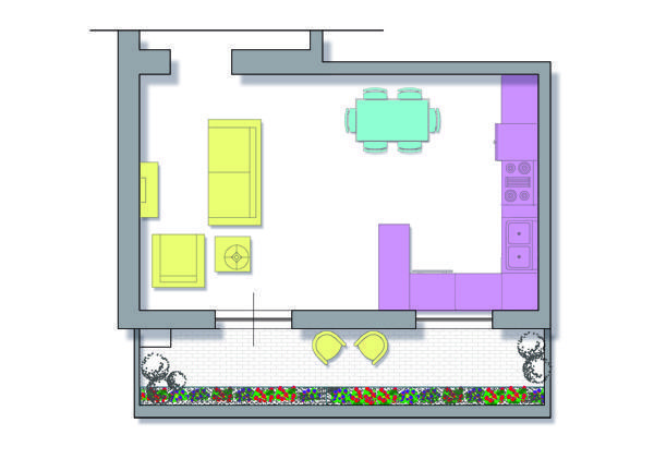 Progettare cucina e soggiorno for 2 metri quadrati di garage