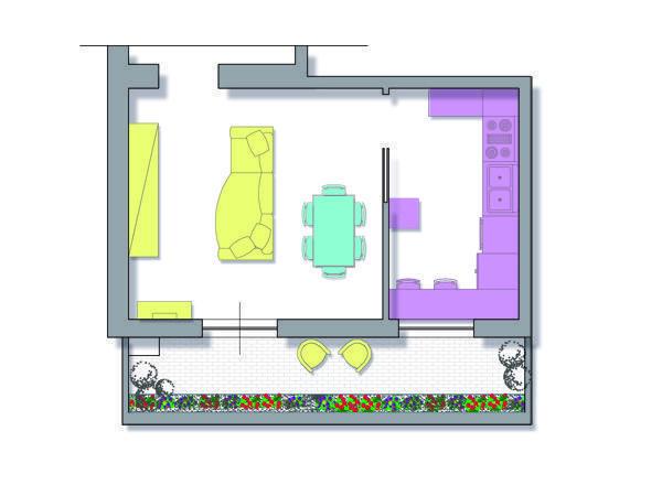 Progettare cucina e soggiorno: seconda soluzione