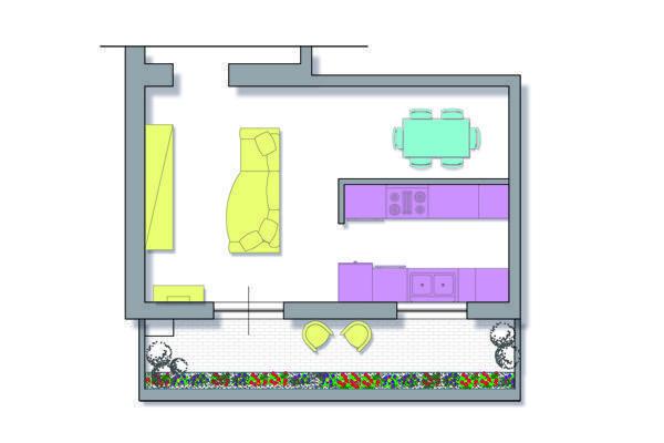 Progettare cucina e soggiorno for Divano x cucina