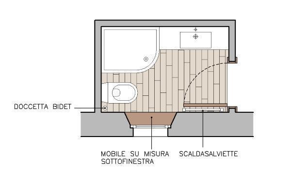 Progetto per un bagno 150x220 cm