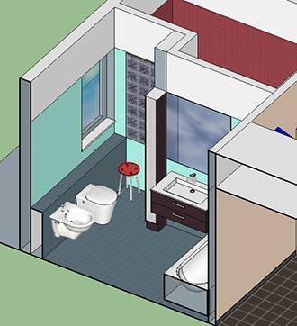 Interno del bagno con accesso in camera