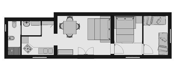Miniappartamento in riva al mare: progetto arredi