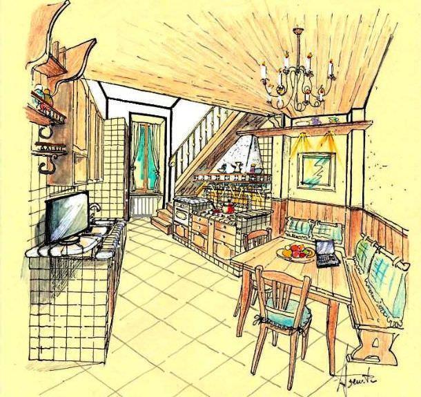 Cucina muratura e legno for Disegno cucina