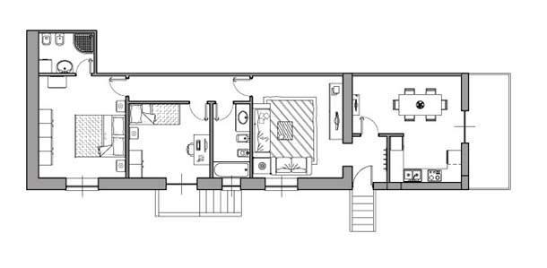Casa di 80 mq 5 idee di progetto for 3 camere da letto 2 bagni piani ranch