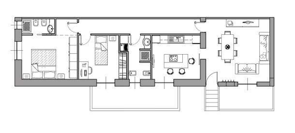 Casa di 80 mq 5 idee di progetto for Piani e disegni di casa con 2 camere da letto