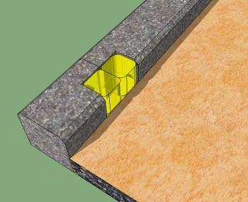 Particolare di cordolo con inserimento sassi luminosi