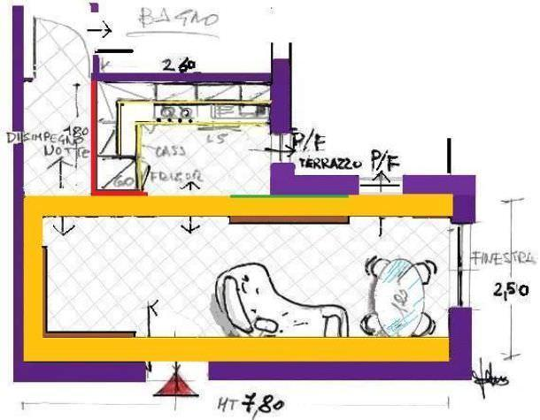 soggiorno con angolo cottura. come progettarlo - Foto Soggiorno Con Angolo Cottura 2