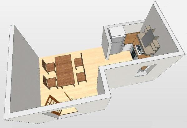 Riprogettare lo spazio cucina: disegno prospettico degli interni