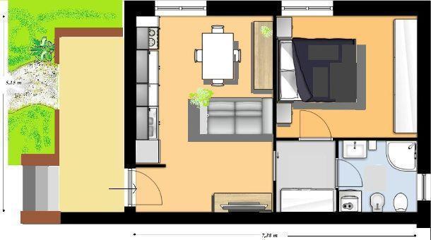 Bilocale 38 mq come progettarlo for 8 piani di casa di camera da letto