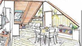 Progetto per un soggiorno in mansarda