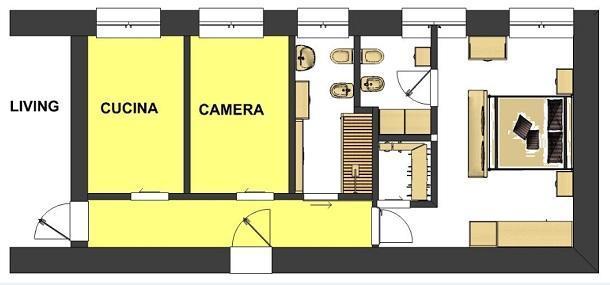 Bagno in camera soluzioni di progetto for Planimetrie della casa mobile con una camera da letto