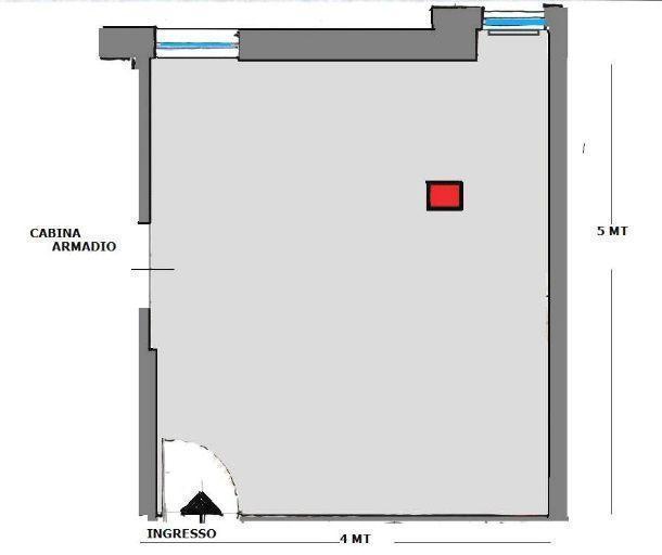 Camera con pilastro: pianta di rilievo