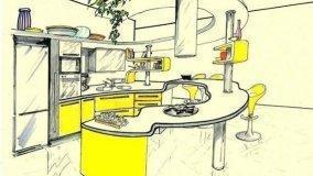 Progetto per cucina con penisola circolare