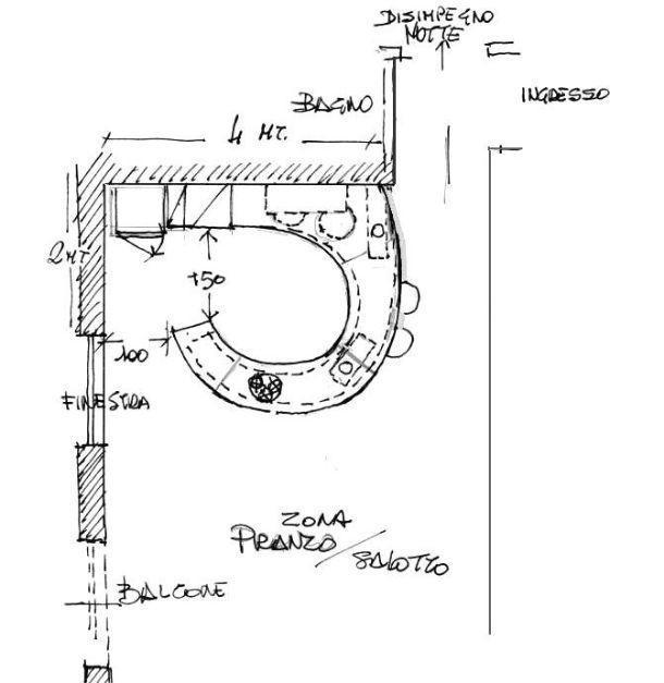 Pianta di progetto per cucina rotonda