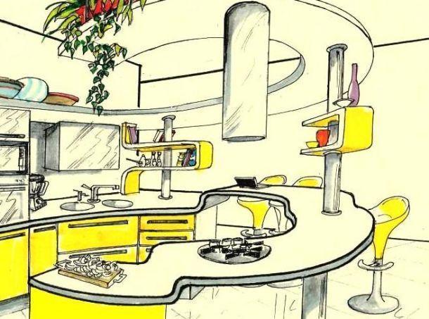 Zone funzionali in cucina rotonda