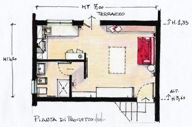 Mansarda pluriuso for Open space planimetria del condominio