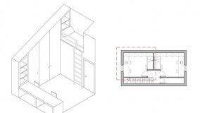 Progetto di due camerette con bagno in una mansarda esistente
